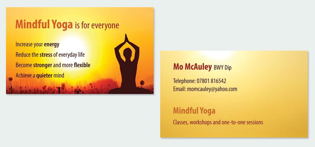 Portfolio tags business card design online marketing web design mindful yoga business cards reheart Gallery