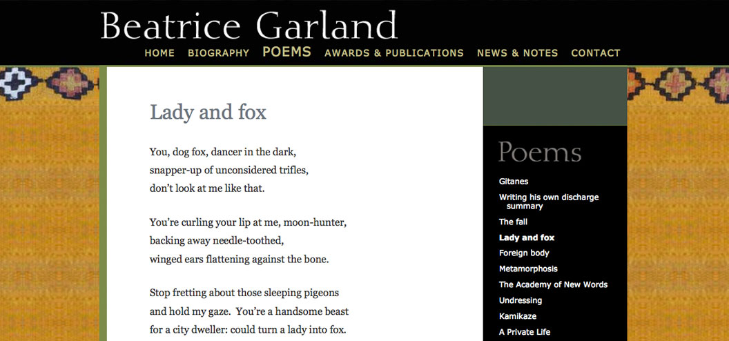 beatrice garland website by pynto